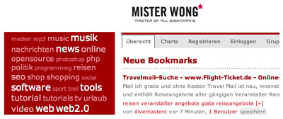 Administer bookmarks with Mister Wong