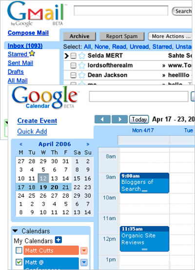 Google Mail and Google Calendar